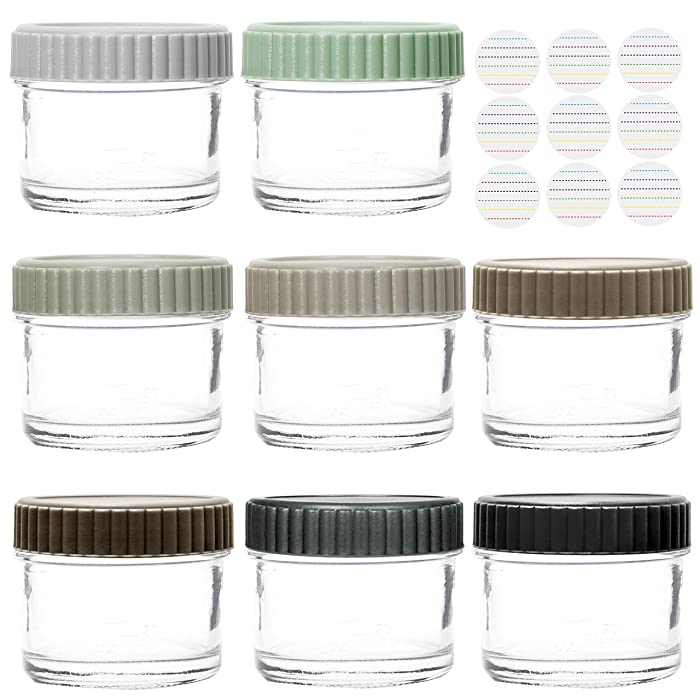 Youngever Glass Baby Food Storage, 4 Ounce Stackable Baby Food Glass Containers with Airtight Lids, Glass Jars with Lids, 8 Urban Colors (8 Sets)