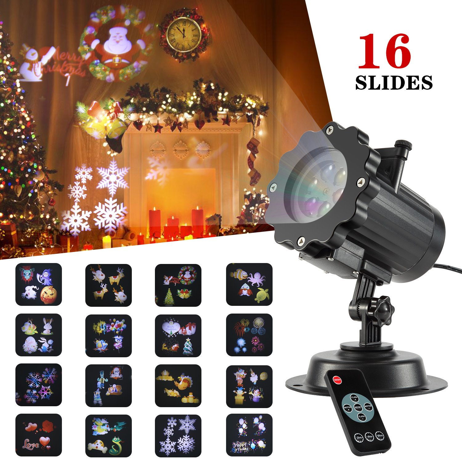 SENDOW Led Projector Lights For Birthday 16 Patterns Snowflake Light Projector with RF Remote Dynamic Xmas Lights for Christmas Gift Decorations Birthday Party Wedding and Valentain's Day