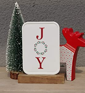 Wood and Metal Freestanding Sign with Colorful Joy   Tabletop Christmas Decoration