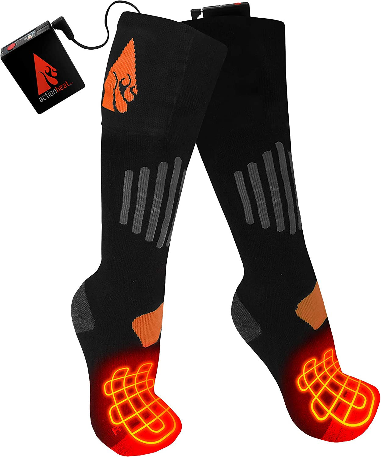 ActionHeat 3.7V Rechargeable Battery Heated Socks - Wool Sports & Outdoors - Outdoor Recreation - Winter Sports - Skiing - Clothing ActionHeat B0747XCCXD