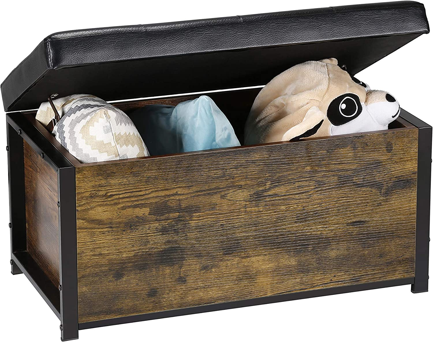 Kamiler Industrial Storage Ottoman Bench,Storage Chest with Faux Leather Padded Seat-Storage,Blanket Organizer for Bedroom,Living Room, Entryway,Hallway: Kitchen & Dining