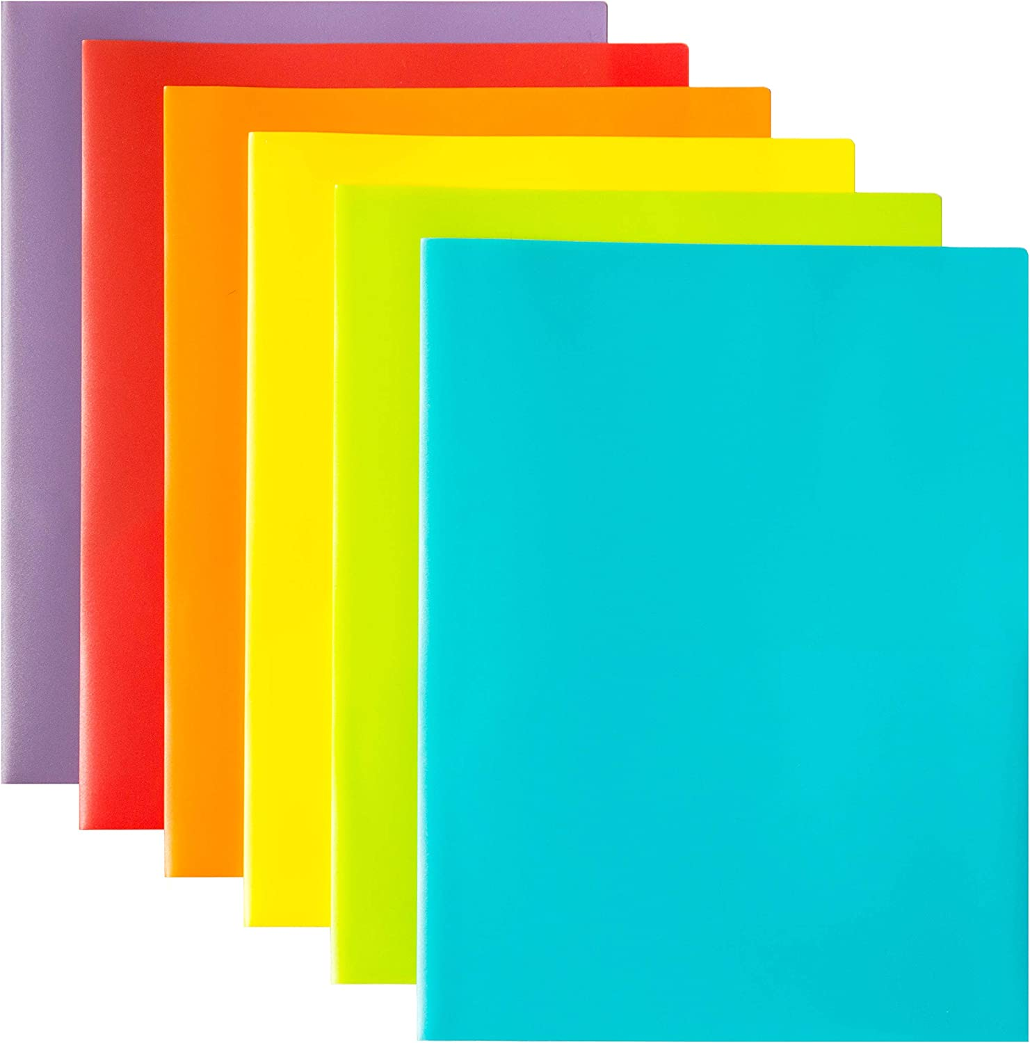 Youngever 12 Pack Plastic Pocket Folders - Heavy Duty Plastic 2 Pocket Folder, in 6 Colors : Office Products