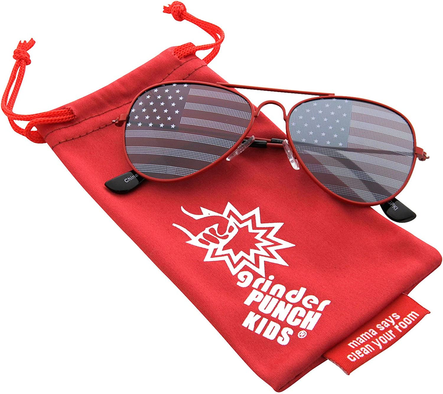 grinderPUNCH KIDS Childrens American Flag Aviator Sunglasses