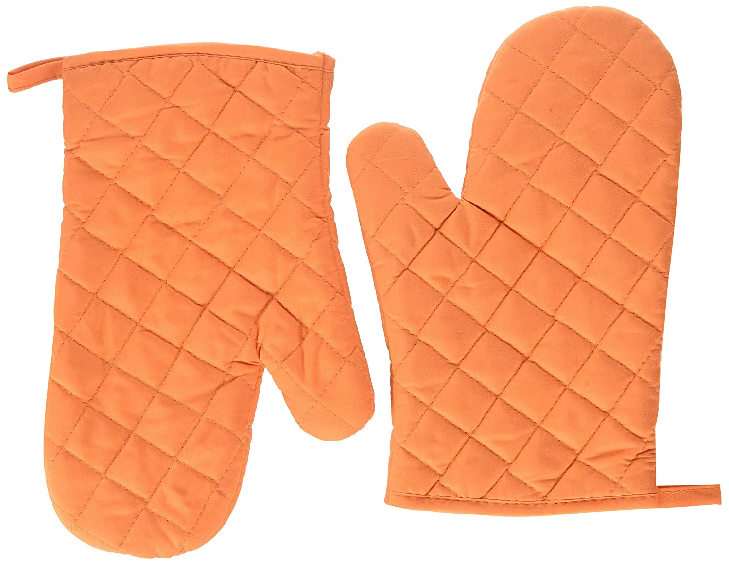 Oven Mitts, Premium Heat Resistant Kitchen Gloves Cotton & Polyester Quilted Oversized Mittens, 1 Pair Orange