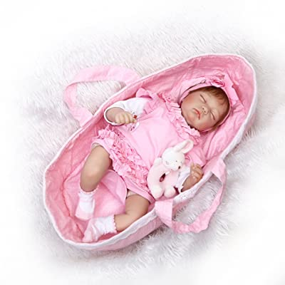 NPKDOLL Handmade Soft Simulation Silicone Reborn Baby Lifelike Doll 22inch 55cm Boy Girl Gift Doll for Children Pink Cloth Lovely Doll: Toys & Games