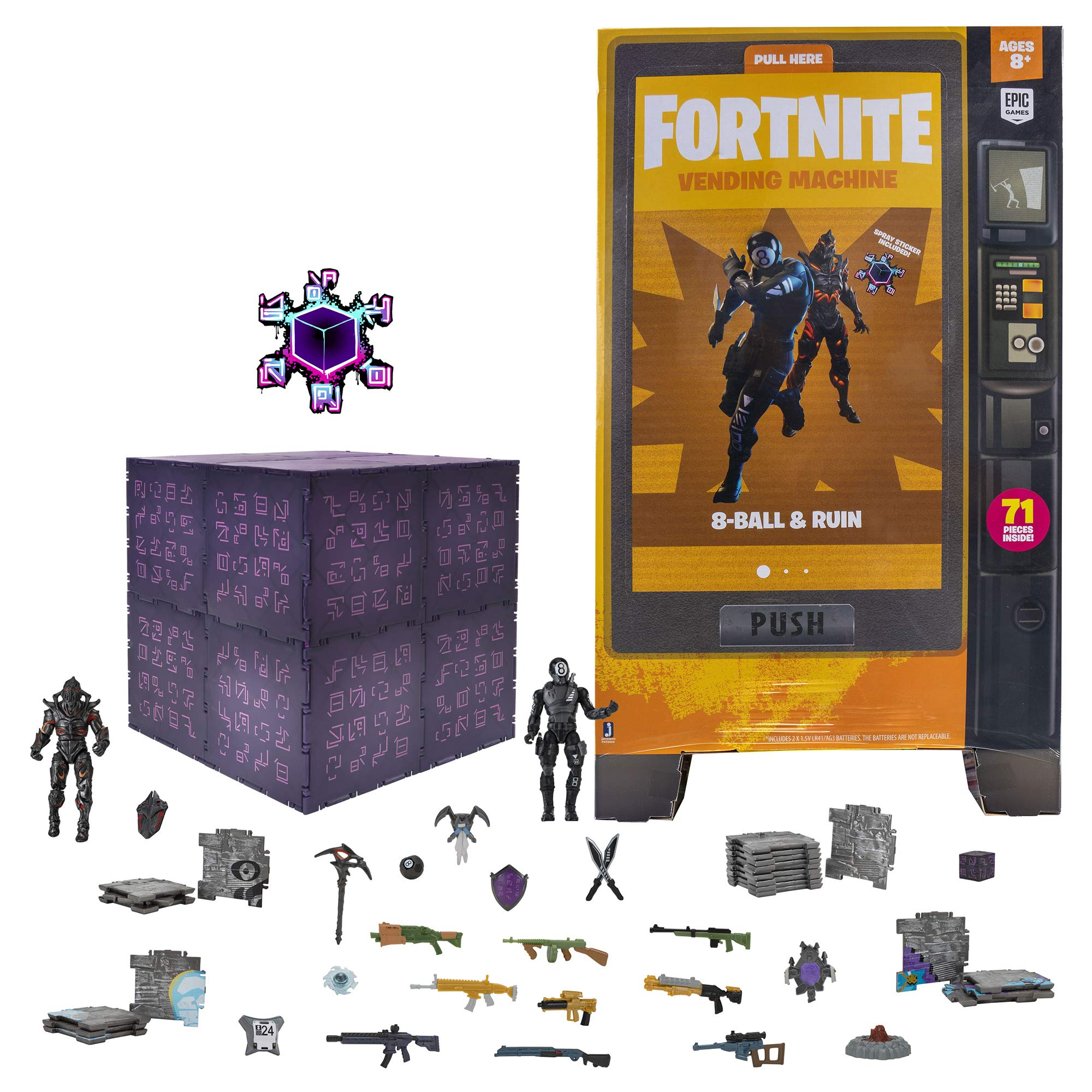 Fortnite Large Vending Machine, 2 Figure Pack - Features Ruin and 8-Ball 4 Inch Collectible Action Figures - Includes 24 'The Cube' Pieces, 10 Weapons, 8 Back Bling, 3 Harvesting Tools, and More