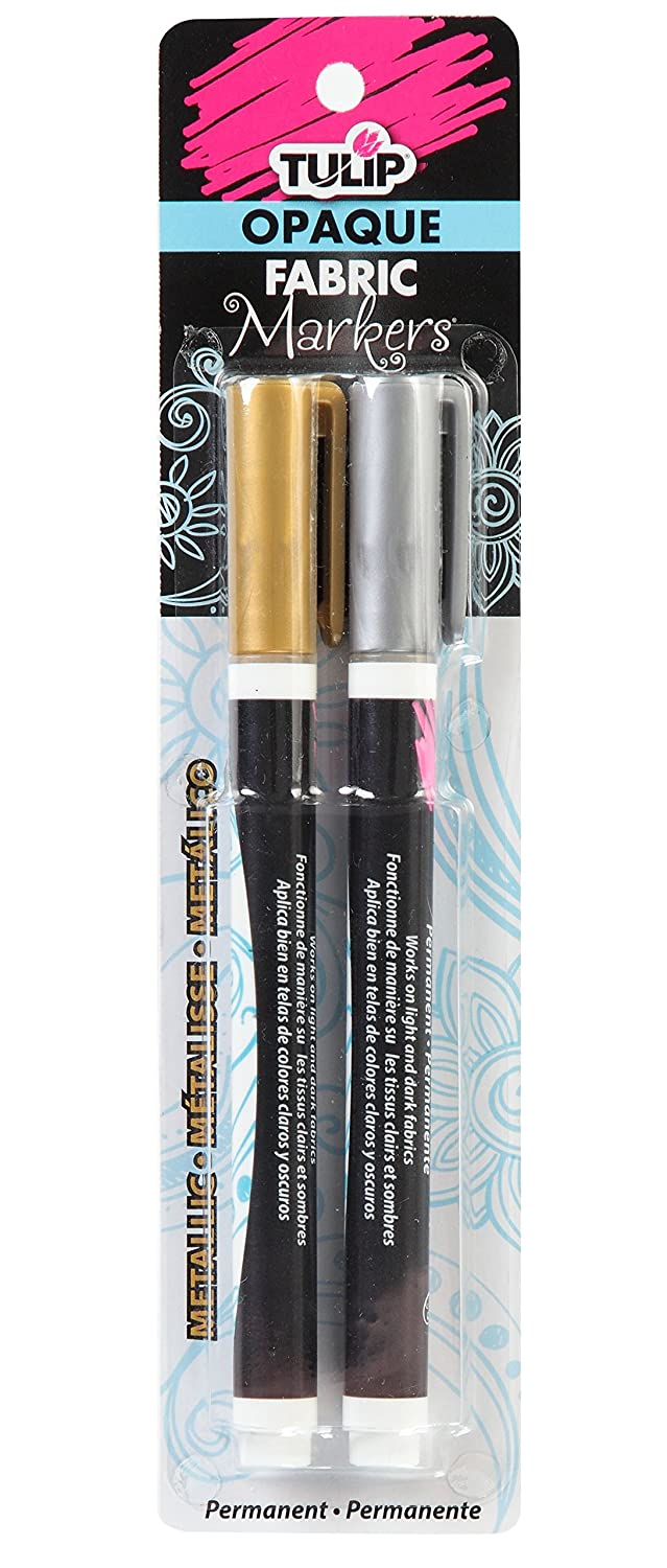 Tulip 33613 Opaque Permanent Nontoxic Fabric Markers Metallic 2 Pack - Fine Bullet Tip, Child Safe, Minimal Bleed & Fast Drying - Premium Quality for Light & Dark Fabrics iLoveToCreate