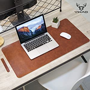 "Yikda Extended Leather Gaming Mouse Pad/Mat, Large Office Writing Desk Computer Leather Mat Mousepad,Waterproof,Ultra Thin 1.2mm - 31.5""x15.7"" (Dark Brown)"