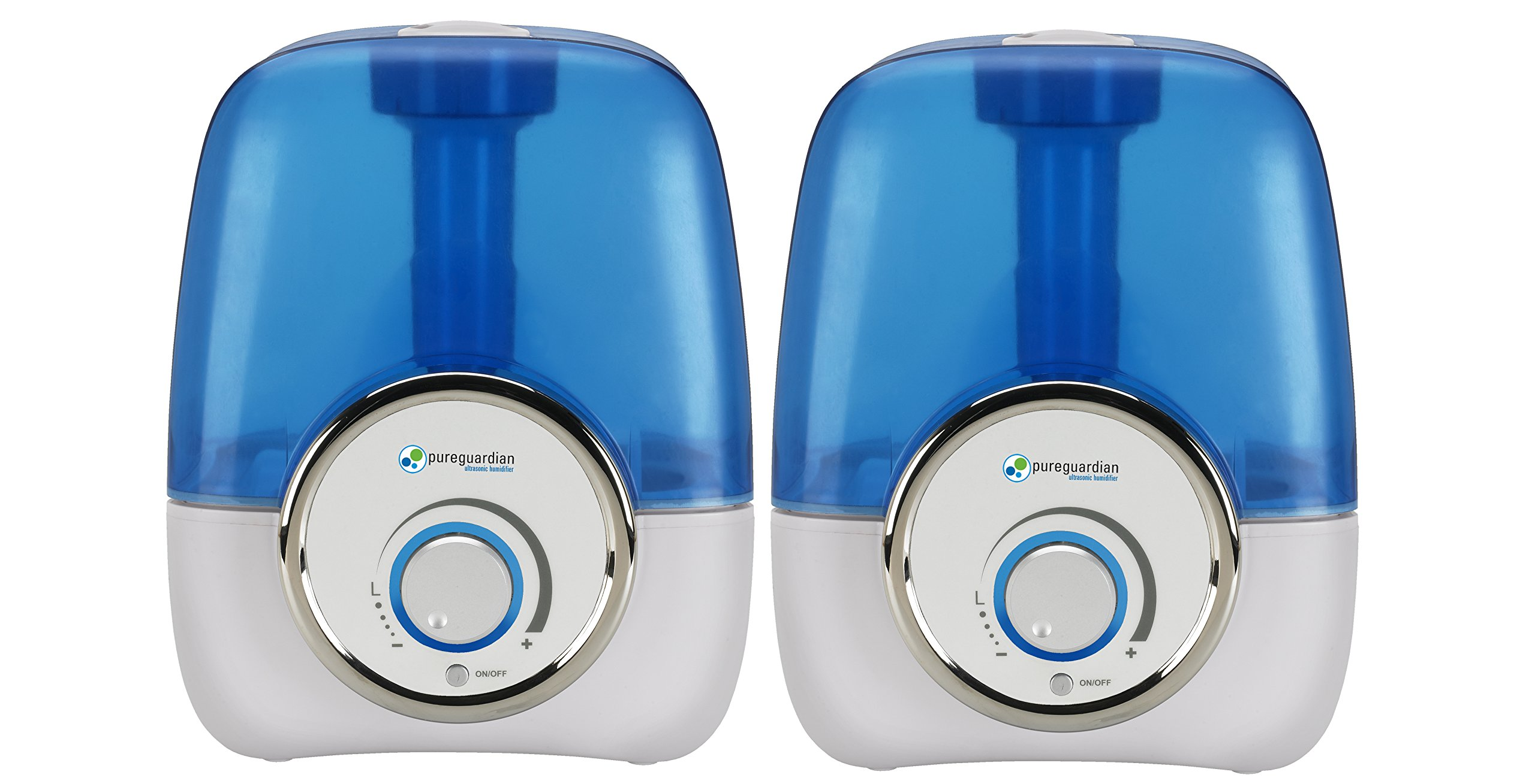 PureGuardian H12102PK Ultrasonic Cool Mist Humidifier 2 Pack, Single Room, Desk, Office, Bedroom, Baby, Portable, Easy Quiet Operation, Night Light, Auto Shut-Off, Pure Guardian Humidifiers