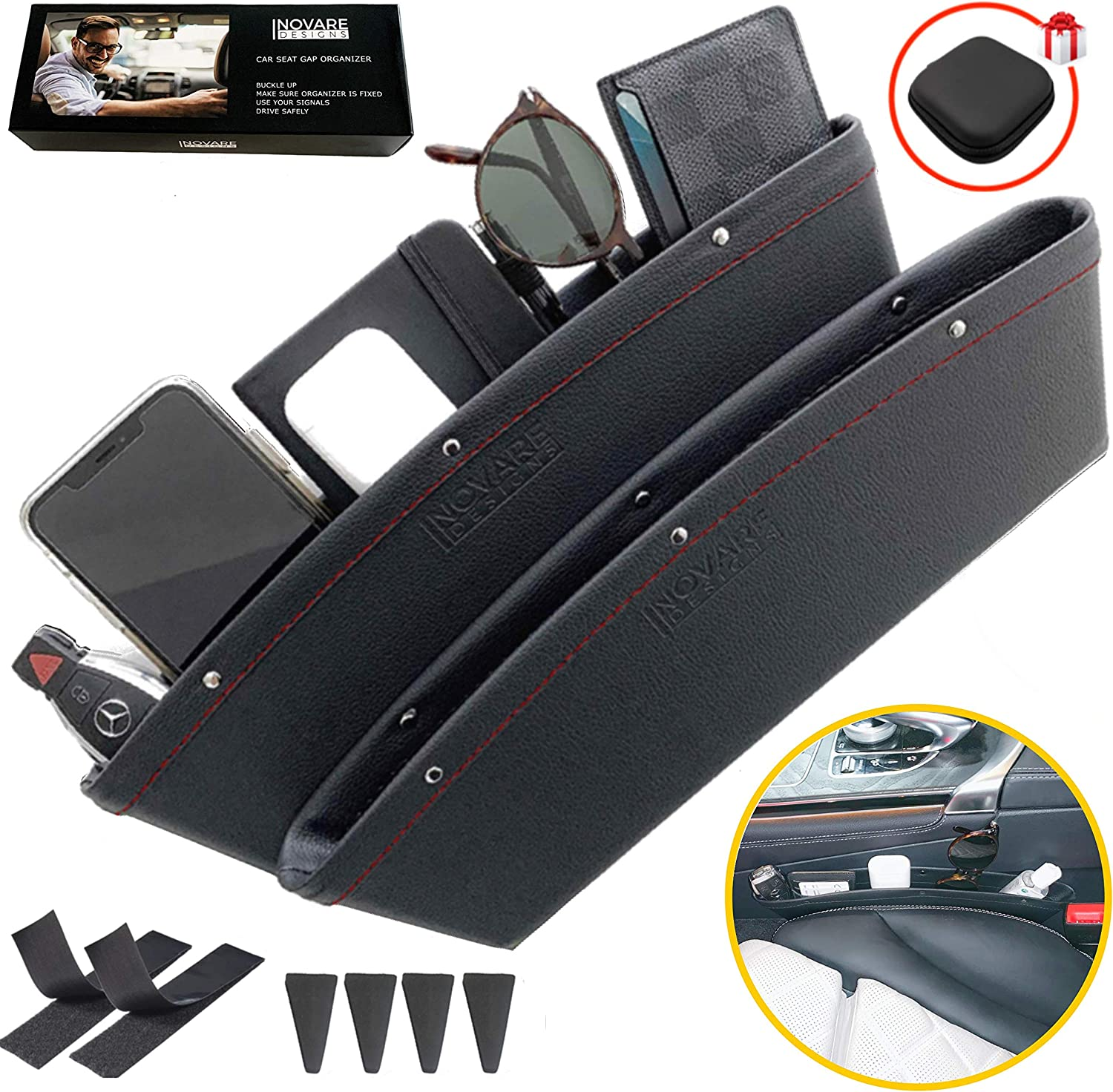 2 Pack Car Seat Side Gap Filler Console Organizer PU Leather Car Pocket Part Toy