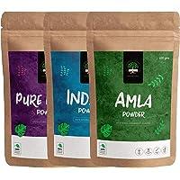 GreenTree Pure Henna, Amla Powder and Indigo Powder (100 gms each), Natural Hair Color