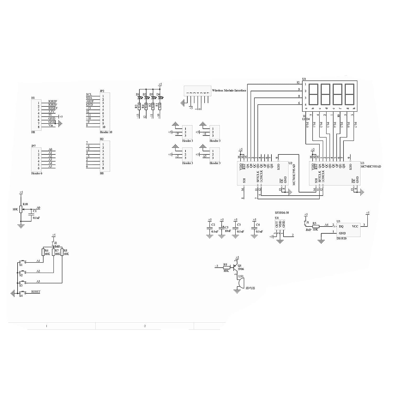 HiLetgo Multi-Function Shield ProtoShield Multi-functional Expansion Board Sensor Shield Module witn Four Digital Display for Arduino