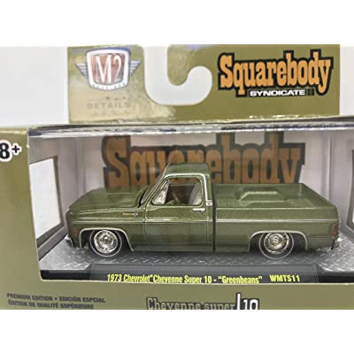 "M2 Machines by M2 Collectible Squarebody Syndicate Series 1973 Chevrolet Cheyenne Super 10"" Greenbeans 1:64 Scale WMTS11 19-45 Army Green Details Like NO Other! 1 of 7880: Toys & Games"