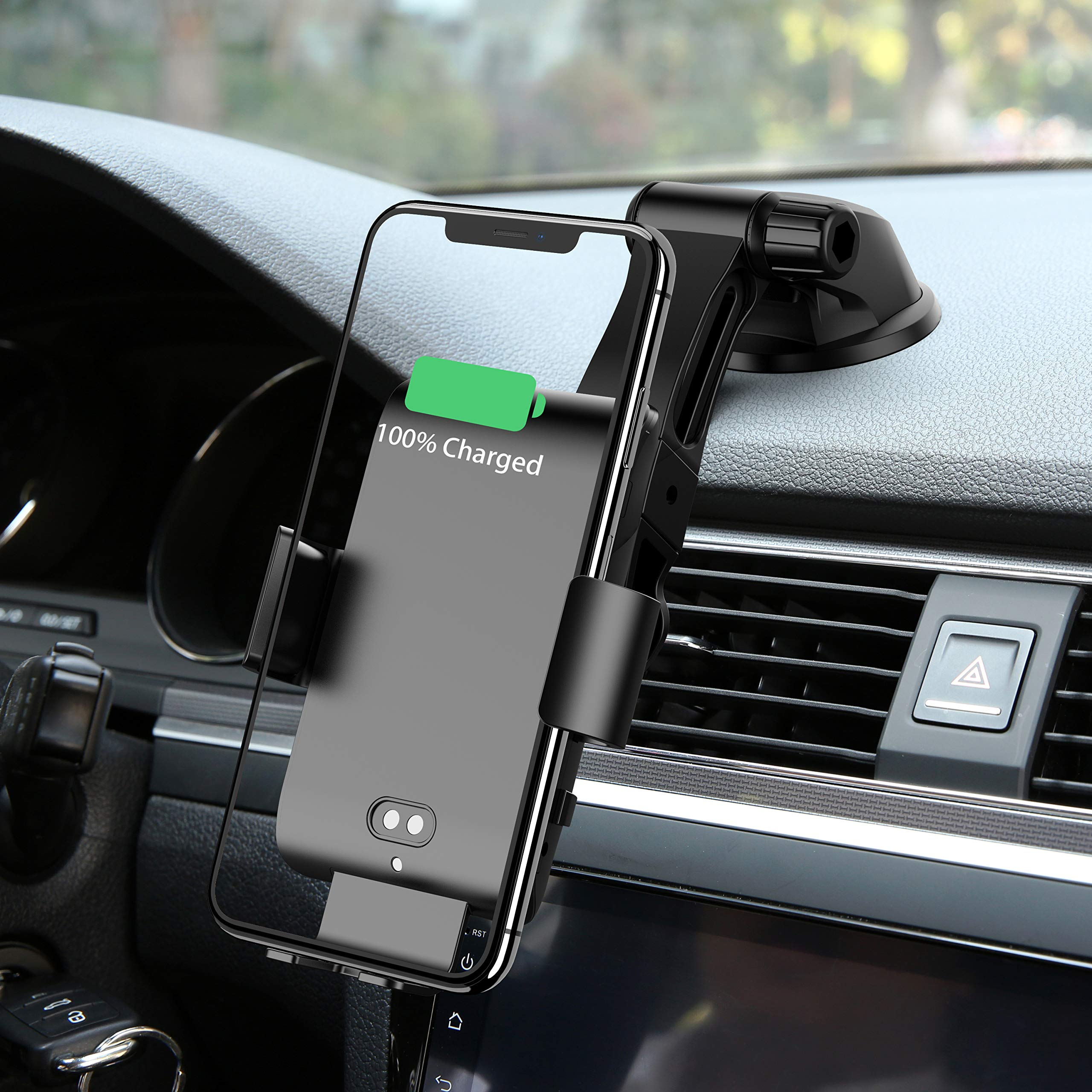 Wireless Car Charger Automatic Clamping MONOOY 10WQi Fast Charging Car Charger Mount Compatible with iPhone Xs MAX/XS/XR/X/8/8p, Samsung S10/S10+/S9/S9+/S8/S8+ by MONOOY