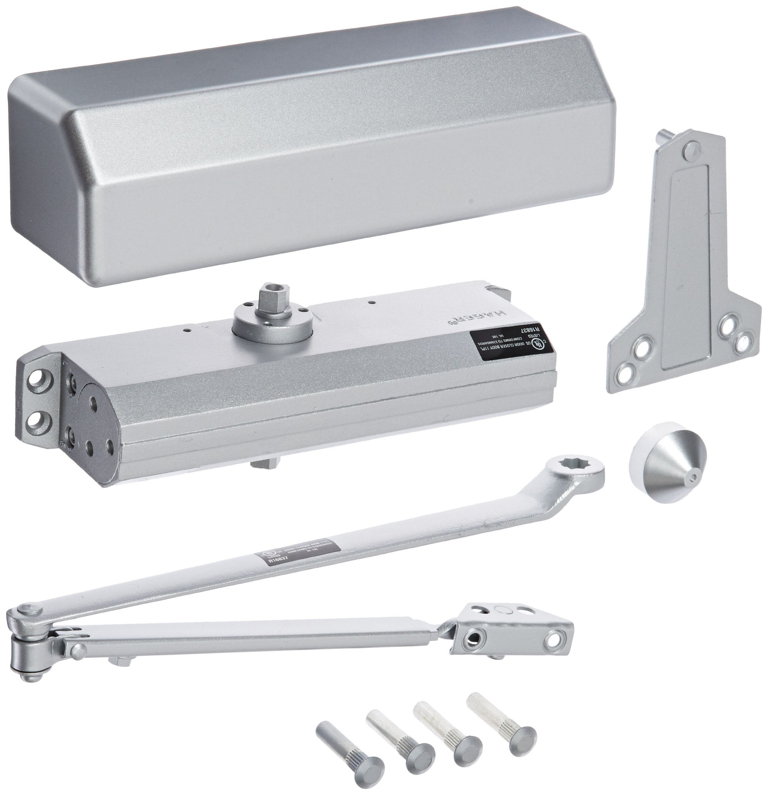 Hager 5300 Series Aluminum Grade 1 Heavy Duty Surface Door Closer, Multi-Mount, 1–6 Adjustable Spring Size, Sprayed Aluminum Finish