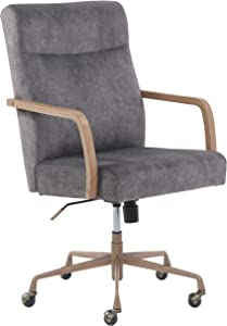 Amazon Brand – Stone & Beam Velvet-Upholstered Office Chair with Wood Armrests and Wood-Finished Base, 23
