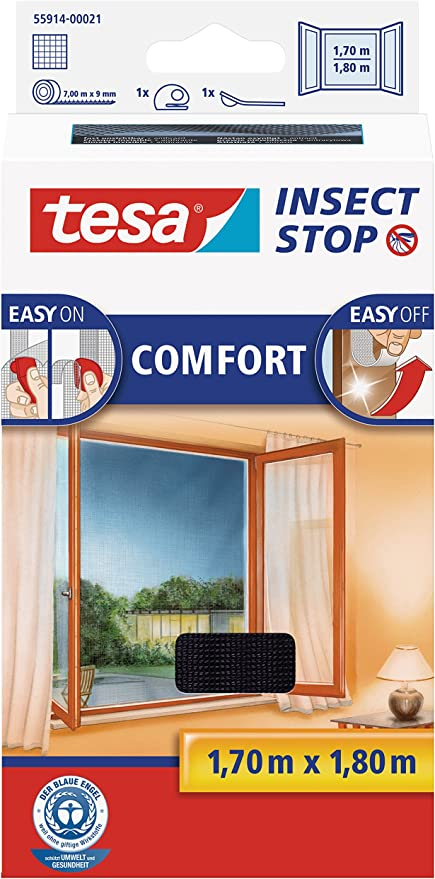 TESA Insect Stop Comfort red anti mosquitos Ventana Plata - Mosquiteras (1700 x 10 x 1800 mm, 141 g, Plata, 454 g): Amazon.es: Bricolaje y herramientas