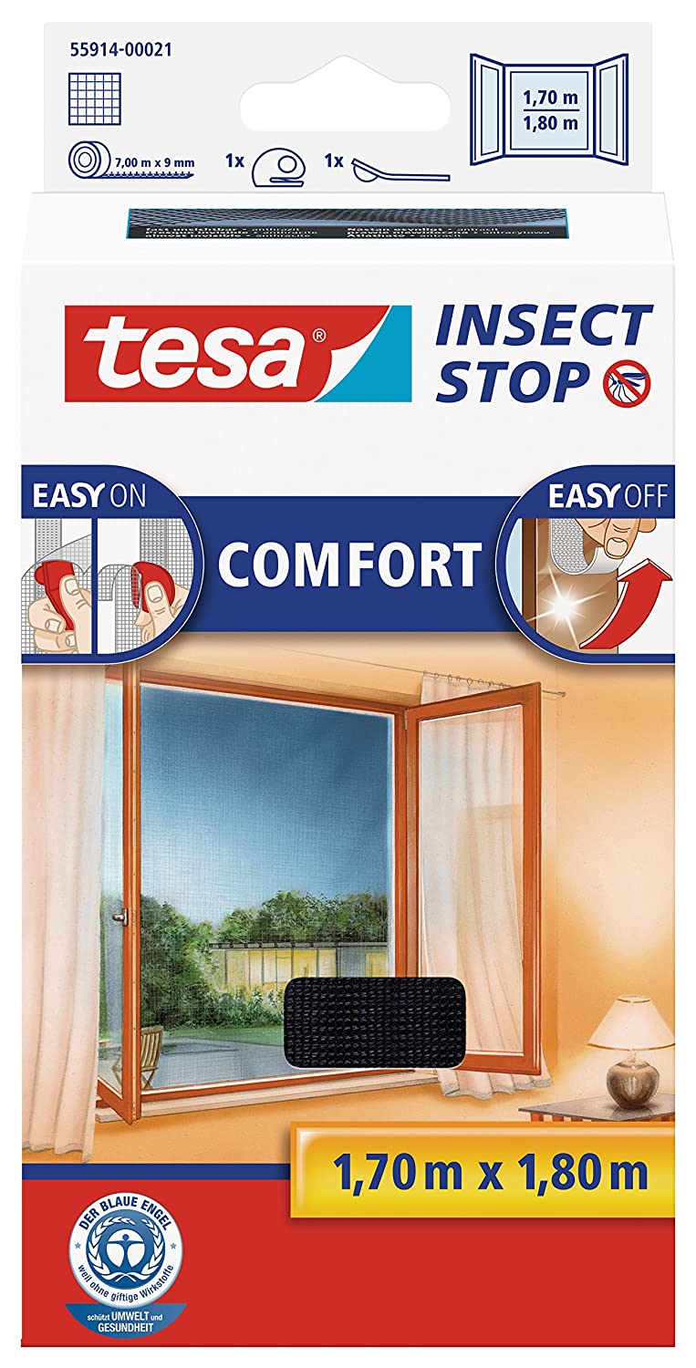 tesa 55914-00021-00 Insect Stop Hook and Loop Comfort For Windows, Removable, Easy-On and Easy-Off Insect Screen, 1.7 x 1.8 m - Anthracite Adhesive bed fly screen easy opening plastic high quality Mosquito net aluminium frame door blind window blind