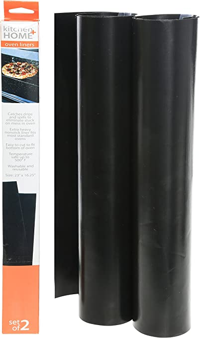 Mutiwill 40 x 50cm Oven Liners Set of 3 Resuable Non Stick Heavy Duty BBQ Grill Mats Ovens Lining for Fan Assisted Ovens