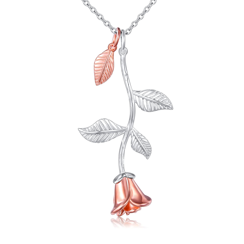 DAOCHONG Rose Blume Anhänger Halskette 925 Sterling Silber Rose Dancing romantische Blume Halskette großen DAOCHONG Fine Jewelry