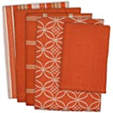 """DII Cotton Oversized Kitchen Dish Towels 18 x 28"""" and Dishcloth 13 x 13"""", Set of 5 , Absorbent Washing Drying Dishtowels for Everyday Cooking and Baking-Spice"""