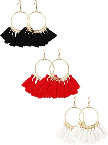 Tassel Hoop Earrings Bohemia Fan Shape Drop Earrings Fish Hook Earrings Dangle Ear Drop for Women Girls Daily Wear,Party