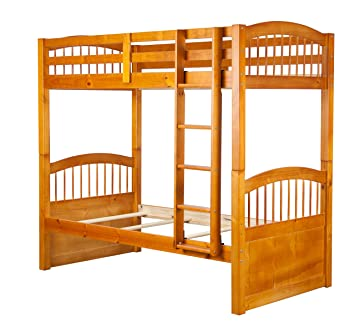 Amazon Com 100 Solid Wood Triplet Twin Over Twin Bunk Bed Honey