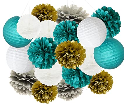 furuix big size white teal grey gold 10inch 8inch tissue paper pom pom paper lanterns mixed