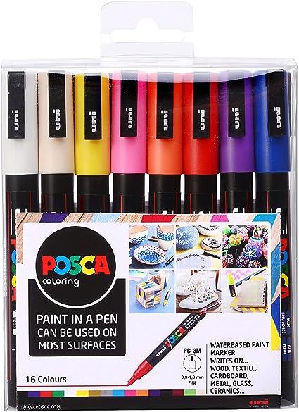 Posca PC-1M Marqueurs pour activit/é artistique blanc m/étal verre marqueur pour tissu lot noir 1/de chaque