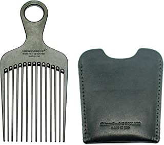 """product image for Chicago Comb No. 7 Carbon Fiber + Horween Dublin Black leather sheath, Made in USA, Detangling Pick & Lift Comb, Men & Women, Long, Curly & Thick Hair, Big Beards & Afros, Anti-Static, 6"""" (15 cm) Long"""