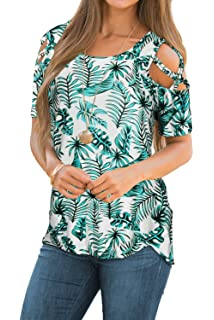 0b22dec492a980 CEASIKERY Womens Floral Blouse Loose Strappy Cold Shoulder Tops Casual T  Shirts