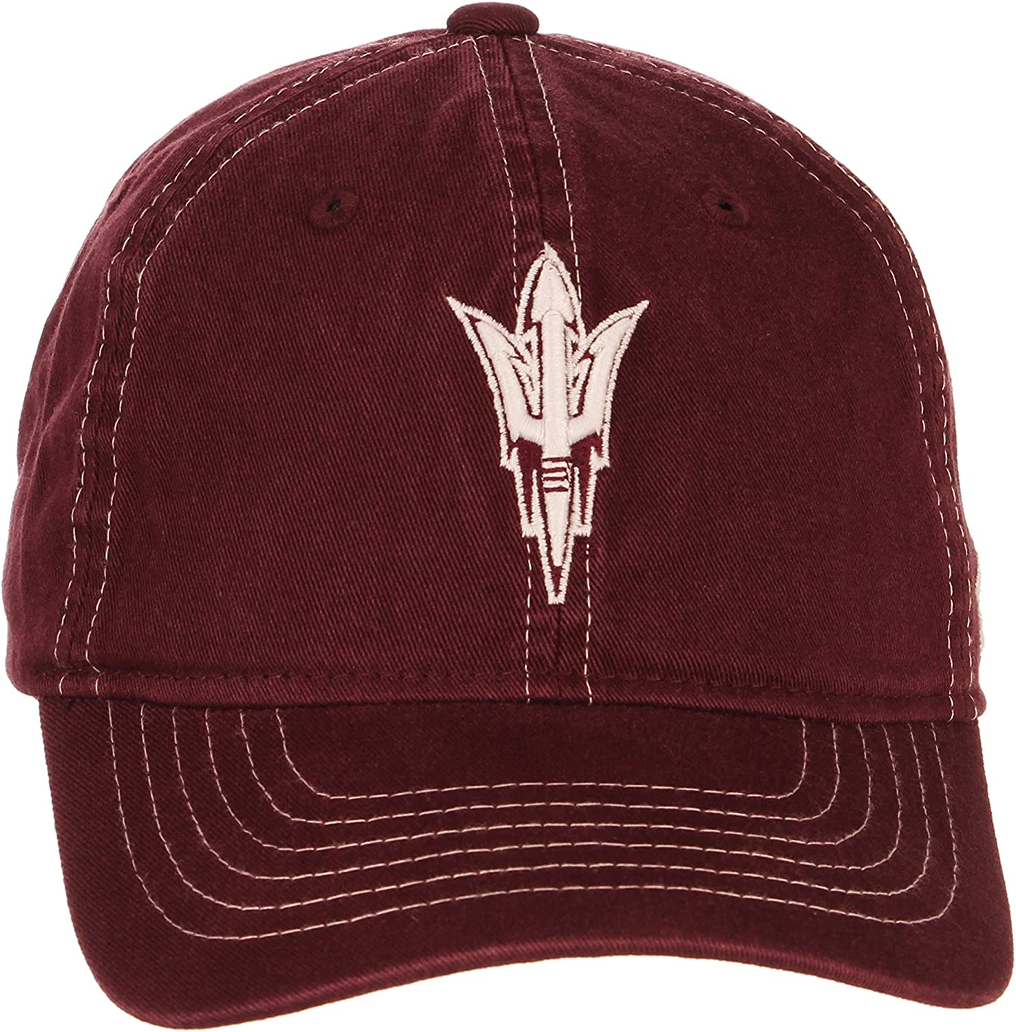 NCAA Zephyr Arizona State Sun Devils Mens Solo Washed Cotton Relaxed Hat Primary Team Color Adjustable