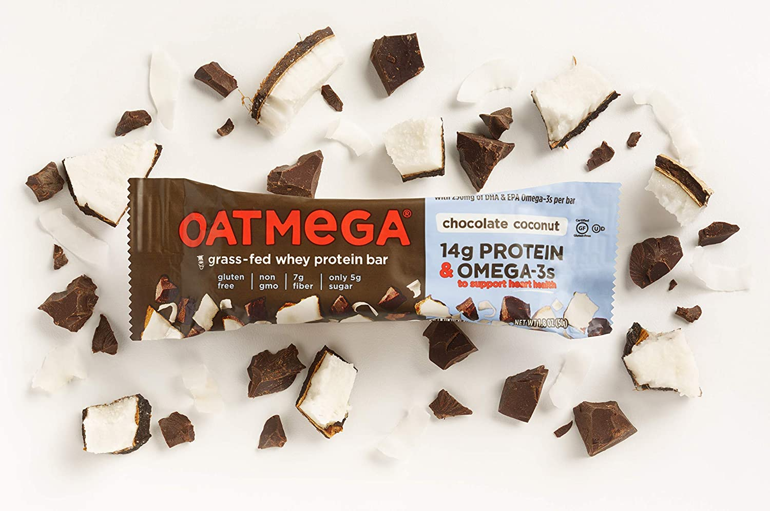 OATMEGA Protein Bar, Chocolate Coconut, Energy Bars Made with Omega-3 and  Grass-Fed Whey