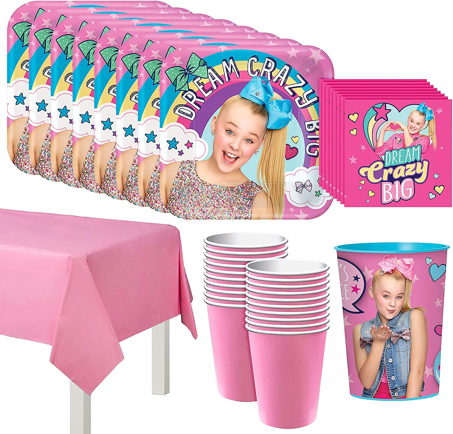 Cups Napkins Plates Original Version JoJo Siwa Party Supply Kit for 16 Guests Tablecover
