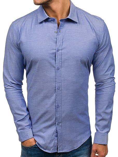 BOLF Hombre Camisa de Manga Larga Mezcla de Algodón GLO-Story 9666 Azul XL [2B2]: Amazon.es: Ropa y accesorios