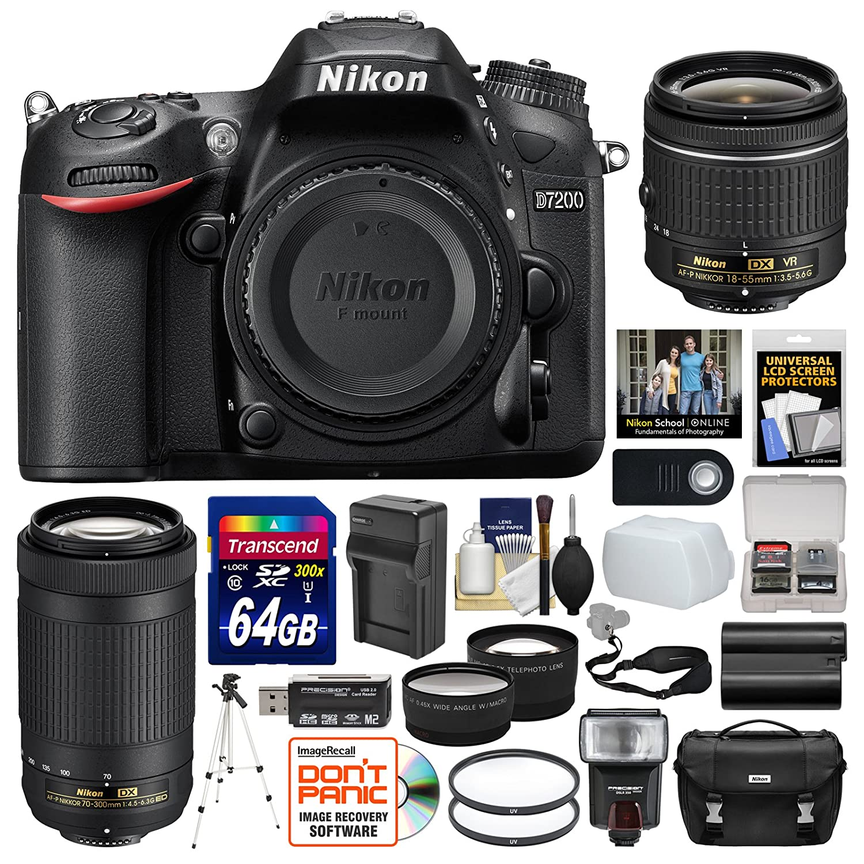 Nikon D7200 Digital SLR Camera with 18-55mm VR and 70-300mm DX AF-P Lenses + Case + 64GB Card + Flash + Battery & Charger + Tripod + Remote Kit