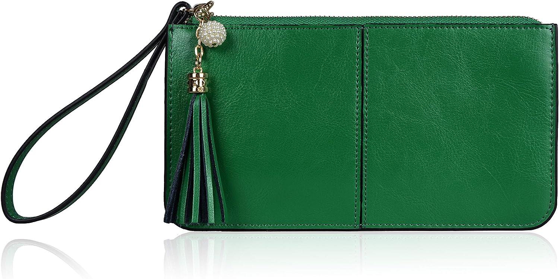 Befen Women's Genuine Leather Wristlet Clutch Cell Phone Wallet, Multi Card Organizer Wallet Purse