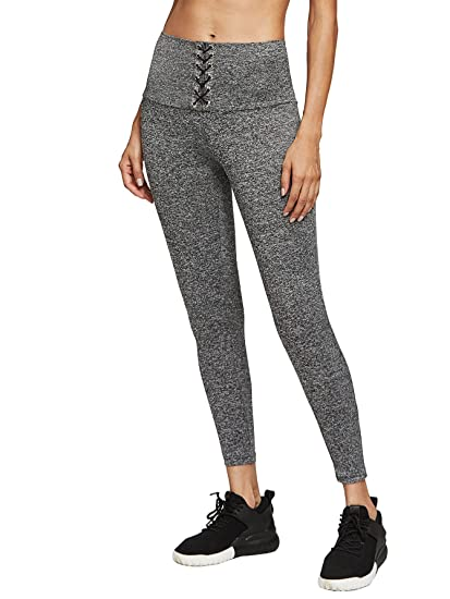 f4f28439c2e8b2 Amazon.com: SweatyRocks Women's High Waisted Lace Up Workout Leggings Grey  L: Clothing