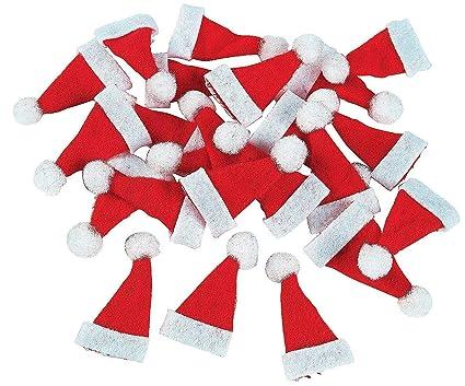 Amazoncom Lot Of 48 Mini 1 Red Santa Hats Christmas Doll Crafts