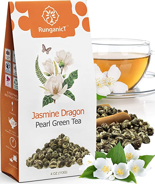 RunganicT - Imperial Jasmine Dragon Pearls - Loose Leaf Green Tea - Jasmine Green Tea with Pleasant Aroma and Tonic Effect - 113g (4oz)