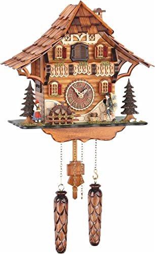 Trenkle Quartz Cuckoo Clock Black Forest House with Moving Mill Wheel and Clock Peddler, with Music TU 478 QM HZZG