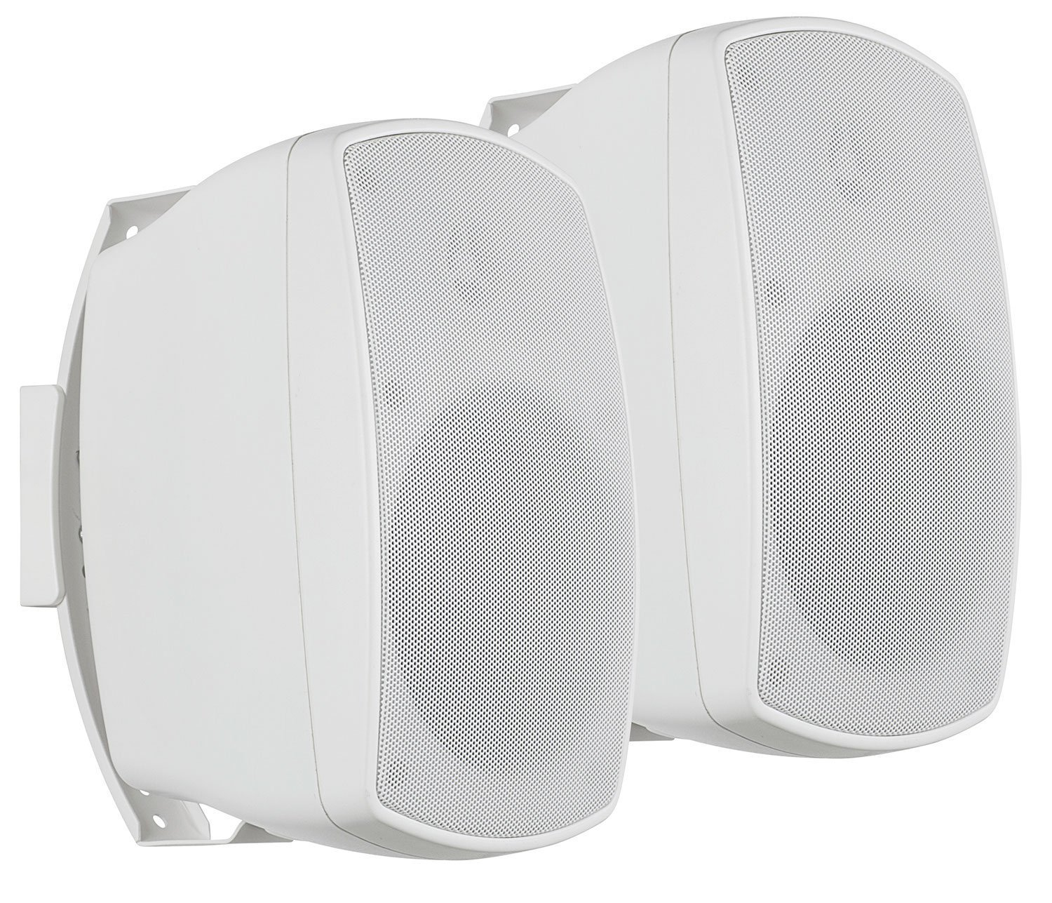 Turcom Indoor Outdoor Wall Mounted Speakers, Dual 2 Way Home Speaker Set With Adjustable Mounts, (1 Pair, White) by Turcom