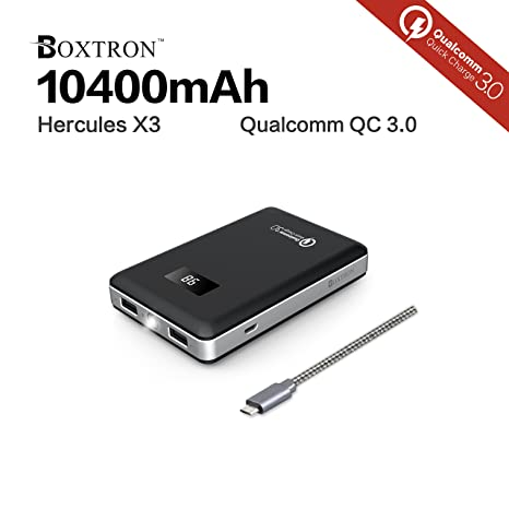 Hercules X3: Qualcomm Quick Charge 3 0, 10400mAh Dual USB ports, bright LED  flash light, portable premium LG cell battery pack phone charger power