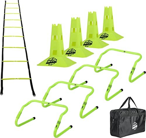Pro Footwork Agility Ladder and Hurdle Training Set with Carry Bag – Speed Training Exercise Practice for Soccer, Football All Sports – Adjustable Heights 6 , 9 12