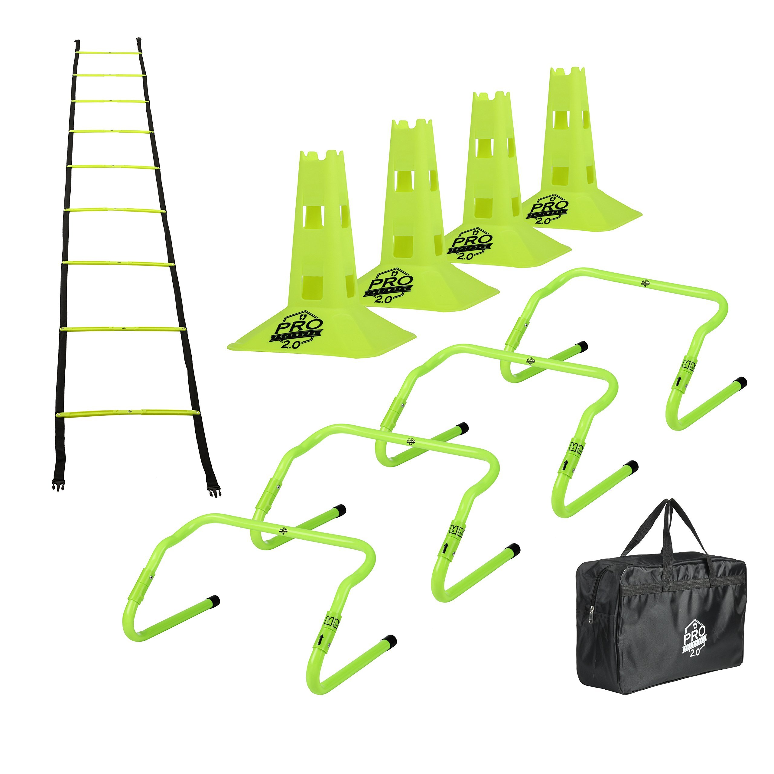 """Pro Footwork Agility Ladder and Hurdle Training Set with Carry Bag - Speed Training Exercise Practice for Soccer, Football & All Sports - Adjustable Heights 6"""", 9"""" & 12"""" (Green-Pro footwork 2.0)"""