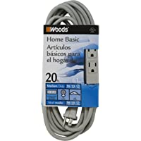 Woods 2867 3-Outlet 20-Ft. Extension Cord with Power Tap (Gray)