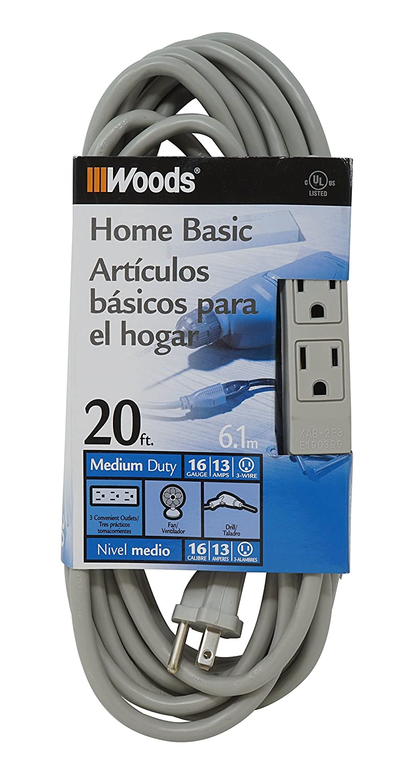 Woods 2867 20-Foot 3-Outlet Extension Cord with Power Tap, Gray