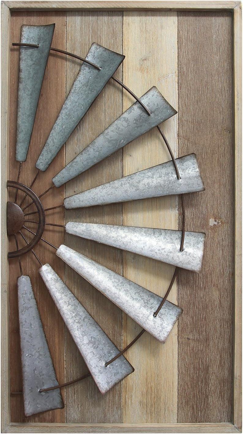 Stratton Home Décor S11547 Windmill Wall Décor, 17.72 W X 1.77 D X 31.50 H, Mixed Natural Wood, Galvanized Metal, Antique Bronze