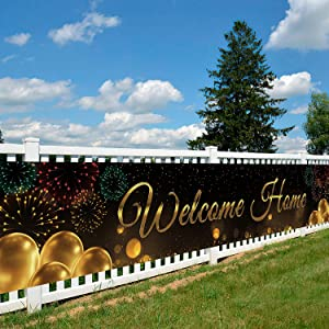 Gatherfun Welcome Home Banner Black Gold Large Outdoor Decorations Porch Yard Sign Backdrop for Returning Back Military Army Homecoming Party Housewarming party Welcome Back Family Party Supplies