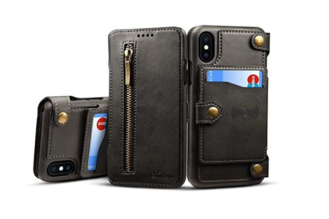 new products c62cb 9b46a iPhone X Case,iPhone X Wallet Case,Simple 8 Card Holder Slots 2-IN-1  Detachable Card Slot Zipper Purse Universal Leather Wallet Case For iPhone  X ...
